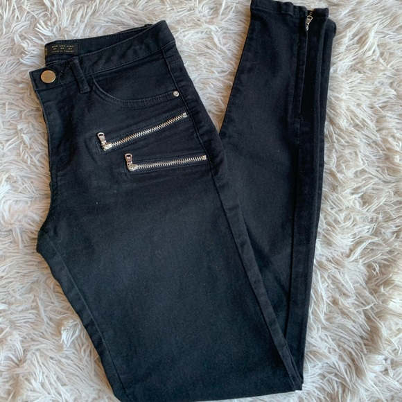 Zara Denim - Zara Zippered Black Skinny Jeans